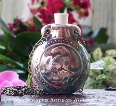 Old European Master Crafted Magical Arts™ Magical Jewelry, Bottle Necklace, Oil Bottle, Ceramic Beads, Alchemy, Raven, Christmas Bulbs, Artisan, Ceramics