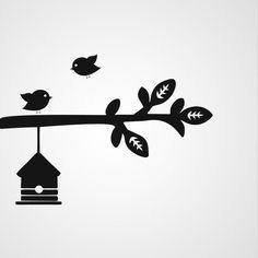 Tak met vogels 5 - Dewiha Art - Muursjablonen en Muurstickers
