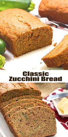 Tender, moist, sweet zucchini bread with a touch of cinnamon. A super easy recipe that will have you begging friends for their extra zucchini! Recipes videos Classic Zucchini Bread - old fashioned quick bread with a touch of cinnamon Zucchini Bread Muffins, Easy Zucchini Bread, Zucchini Bread With Pineapple, Best Moist Zucchini Bread Recipe, Recipes With Zucchini, Cinnamon Zucchini Bread, Courgette Bread, Carrot Bread Recipe, Recipes