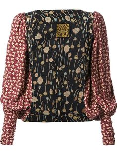 Multicolour cotton clover print bolero from Biba featuring an open front and a long puff sleeves with fitted cuffs.