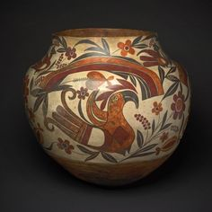 Acoma Pueblo, New Mexico, United States  Polychrome Jar with Rainbow, Macaw, and Floral Motifs, 1880s