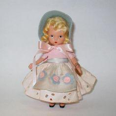 "Nancy Ann Storybook BISQUE Doll #127 ""Merrie Maid"" w/Wrist Tag 5.5"" EXCL #NancyAnnStoryBook"