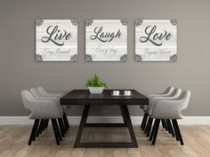 Live Laugh Love Wall Decor Add some love and character to home decor with this set of 3 canvases that say Live Laugh Love. Live Laugh Love Wall Decor Add some love and character to home decor with this set of 3 canvases that say Dining Room Walls, Dinning Room, Living Room Decor, Room Wall Decor, Home Decor, Home Decor Wall Art, Kitchen Wall Decor, Living Decor, Rustic House