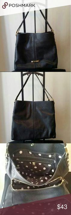 "Anne Klein Kickstart 4 Poster handbag Faux leather; Double shoulder straps with 9"" drop Snap closure; Exterior features gold-tone hardware and logo plaque Interior features center zip compartment, 1 zip pocket and 2 slip pockets Anne Klein Bags Shoulder Bags"