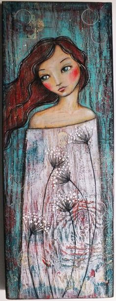 """Original OOAK Mixed Media Folk Art """"Winds of Summer"""" Acrylic and Colored pencil on Pine woman portrait A. Kennedy:"""