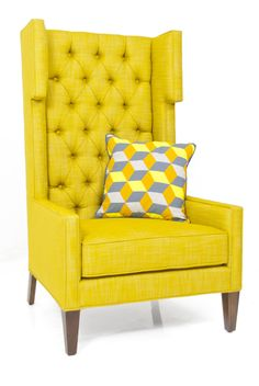 Tangier Wing Chair in Old Gold Linen by ModShop