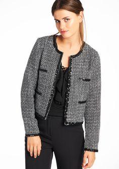 Lola Liza .com blazer chanel look tweed Tweekleurige jas met pailletten details - BLACK - 09000813_1119