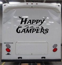 Happy Camper custom Decal with wolf eagle bear for rv travel trailer camper LOOK #SmokyMountainDecals