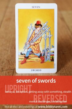 Seven of Swords #tarotcardmeaning learn more atwww.biddytarot.co...