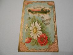 Vintage Postcard Birthday Embossed Floral Divided Back Unposted Germany 5063    #Birthday