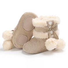 Raise Young Cotton Plush Winter Warm Baby Girl Boots Fashion Furball Solid Non-slip Toddler Boy Booties Newborn Infant Footwear