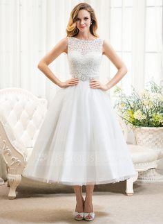 Corte A/Princesa Escote redondo Hasta la tibia Satén Tul Encaje Vestido de novia con Bordado Lentejuelas (002054369)