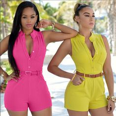 Sleeveless Belted Romper Jumpsuits -  - Shorts, Look Love Lust - 8