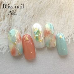 Stylish Nails, Trendy Nails, Cute Nails, My Nails, Korean Nail Art, Korean Nails, Seashell Nails, Asian Nails, Japanese Nail Art