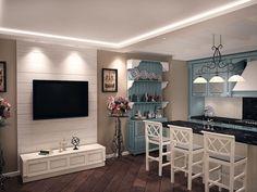 Дизайн совмещенной кухни-гостиной с барной стойкой: 75 мультифункциональных и современных интерьеров http://happymodern.ru/dizajn-kuxni-sovmeshhennoj-s-gostinoj-foto-s-barnoi-stoikoj/ Кухня с открытой планировкой в духе прованс