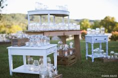 Is it really a country wedding if there wasn't mason jar decor? Check out how Sarah Darling used them in her wedding >> http://www.greatamericancountry.com/living/lifestyles/sarah-darlings-rustic-bohemian-wedding-pictures?soc=pinterest