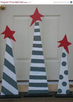 20% OFF Today Set Of 3 Jade Green & White Christmas Trees. Set Of 3 Coastal Theme Christmas Trees Set Of 3 Wood Christmas