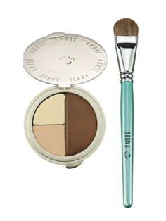 "You only need two: a matte shading cream or powder and a highlighter. ""I like to contour with a cream because you can pat it on with your fingers and it has a natural finish that doesn't look like makeup,"" says Ciucci (we like the Senna Face Sculpting Kit, shown). Or if you're more comfortable with powder, choose a sheer formula, like Benefit Dallas Powder, which ""gives a softer contour"""