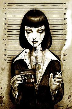 Mrs Wallace by Marcus Jones Uma Thurman Mugshot Jail Canvas Art Print – moodswingsonthenet