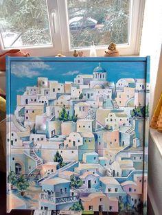 """Comodino dipinto a mano """"Una citta greca"""" autore M Sambur 2015"""