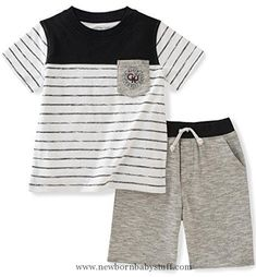Baby Boy Clothes Calvin Klein Baby Boys' 2 Pieces Tee Set-Marled Shorts, Black, 12M