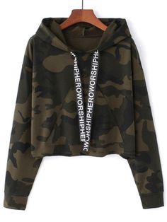 Women Camouflage Printed Cropped Hoodies Sweatshirts Long Sleeve Tracksuit Autumn Armygreen Hooded Pullovers Size One Size Color gray 1 Teenage Outfits, Teen Fashion Outfits, Fashion Mode, Outfits For Teens, Trendy Outfits, Crop Top Hoodie, Cropped Hoodie, Hoodie Outfit, Camo Hoodie