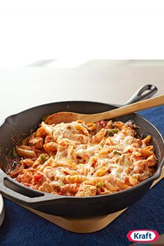 Italian Chicken Pasta Skillet - Cheesy, hearty one-skillet chicken pasta is no longer the stuff of Italian restaurant lore. We've upped the flavor and made it a better-for-you winner. Buon appetito!