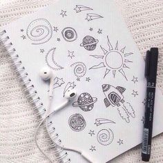 doodles discovered by ˗ˏˋ riss ˎˊ˗ on We Heart It Doodle Art, Doodle Drawings, Easy Drawings, Drawing Sketches, Drawing Art, Drawing Ideas, Cute Drawings Tumblr, Planet Drawing, Notebook Doodles