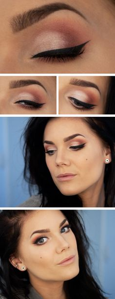 Warm pink eye makeup look and peachy nude lip, created by makeup artist Linda…