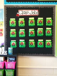 """Cute """"jobs"""" idea. And, if you click on the picture you can see other classroom pics. I like how she used her desk as her small group table. Good idea if you don't have an extra table and you have desks."""