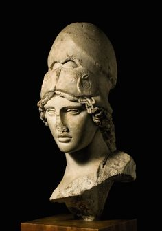 A Marble Bust of the Athena Giustiniani, Roman Imperial, circa Century A. after a Greek original of the late Century B. Ancient Greek Art, Ancient Rome, Ancient History, Ancient Greece, Roman Sculpture, Art Sculpture, Roman Artifacts, Ancient Artifacts, Statues