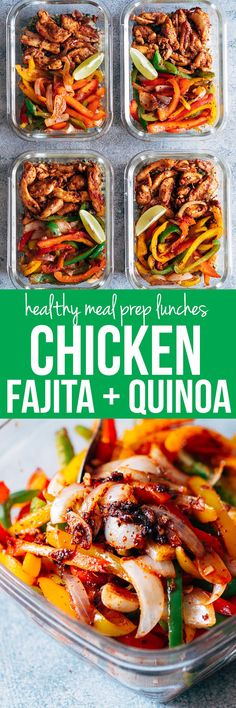 Chicken Fajita Meal Prep Lunch Bowls are teamed with cilantro lime quinoa and is a healthy, tasty, fast recipe to make lunch prep for weekdays super easy! Substitute chicken with beef or shrimp. Gluten free and dairy free.