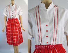 Vintage 1970s Shirtwaist Dress Red and White NOS by R & K B40