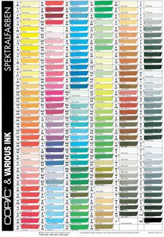 (¯`'•.♪♫Copic Color Chart...