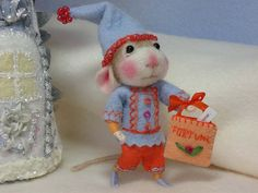 "3"" Fritzle wool needle felted fortune telling mouse with embroidered clothing By Barby Anderson by feltedmice, via Flickr"