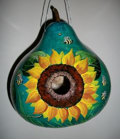 Painted Gourd Bird Houses | MADE TO ORDER Gourd Birdhouse Bees and Sunflowers Hand Painted