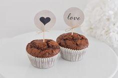 "12 cute cupcake topper ""love & heart"" for your candy bar  12 Cupcake Topper ""love & Herz"" von little-pink-butterfly auf DaWanda.com"
