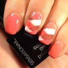 Gorgeous manicure by CaliforNails featuring Coral Sunset #sensationail #nailart #gel #manicure #gelnails #notd