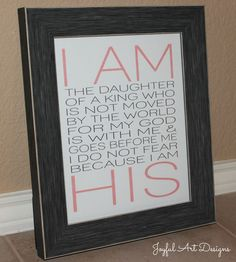 I Am His PRINTABLE.  Christian Wall Art. Nursery Wall Art. Children's Room Decor. Baby Girl Gift. Birthday For Woman. $8.00