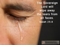 The Sovereign Lord will wipe away the tears from all faces. Isaiah 25:8