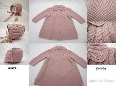 Patron paso a paso abrigo-gorro-bebe Crochet Baby, Knit Crochet, Baby Hacks, Baby Dress, Cold Shoulder Dress, Knitting, Sweaters, Dresses, Fashion