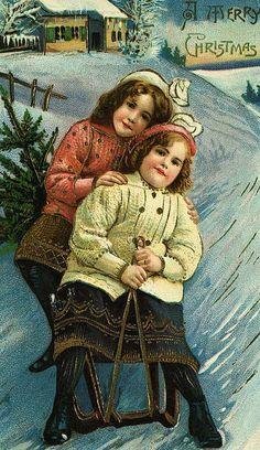 A Merry Christmas Postcard with Sledding Girls
