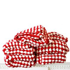 Red and White Crochet Blanket