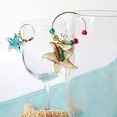 Decorate your guest's wine glasses with beach themed Wine Charms!