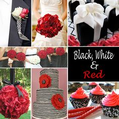 Black, White and Red Wedding Colors - Black and white paired with red is a classic wedding color combination.