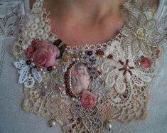 Check out necklace jewelry baedwork necklace lace vintage romantic jewelry beadwork boho jewelry silk flowers tassels faux pearl embrodery on shabbyromanticart