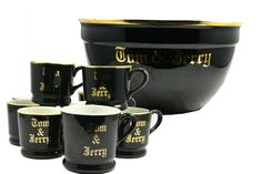 Vintage Black and Gold Hall Tom & Jerry Large Punch Bowl & 9 Cups Mugs #Hall