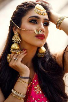 A Gorgeous Tale Through Jhumkas And Chandbalis - All Abt Fashion- D Bride - A Gorgeous Tale Through Jhumkas And Chandbalis Shopzters Indian Wedding Makeup, Indian Bridal Fashion, Indian Wedding Jewelry, Indian Makeup, Arabic Makeup, Indian Jewelry, Nath Nose Ring, Bridal Nose Ring, Nath Bridal