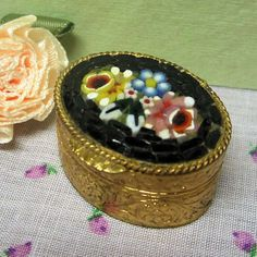 Italian Micro Mosaic Snuff or Pill Box signed V. Villani Vintage 1960s by letsreminisce on Etsy