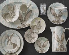 Williams Sonoma Damask Bunny Kids Melamine Dinnerware Set So cute! Melamine Dinnerware Sets, Porcelain Dinnerware, Tableware, Nutcracker Decor, Bunny Images, Appetizer Plates, Dinner Plates, Floral Backdrop, Williams Sonoma